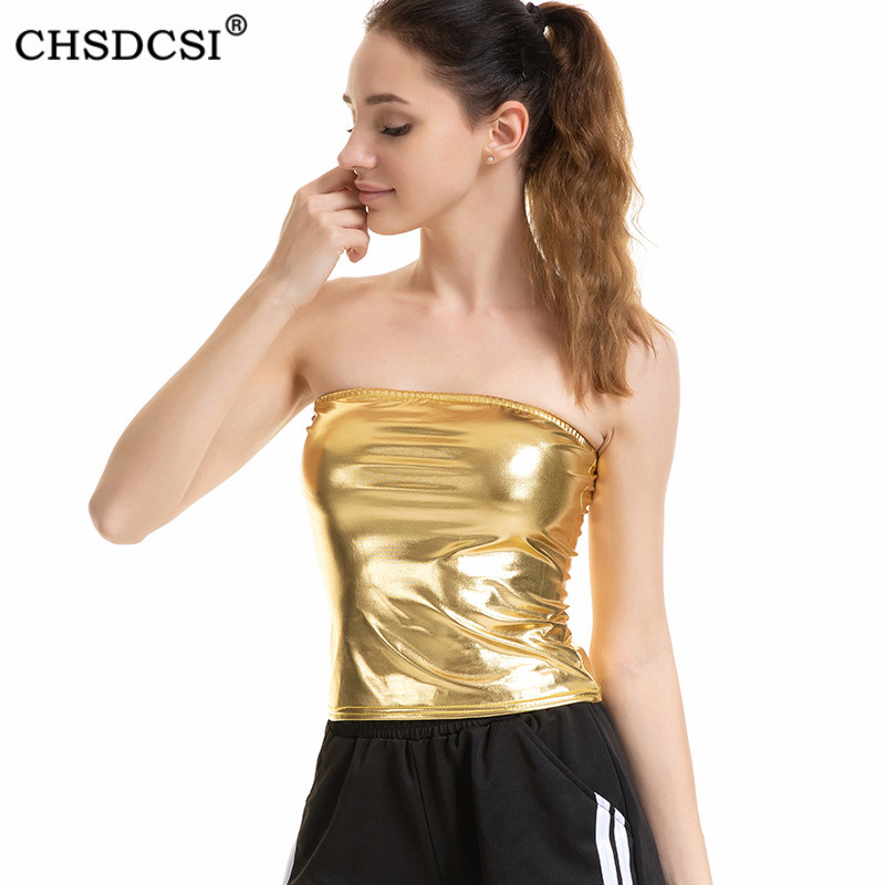 Female Club Camis Sexy Crop Top Summer Women Tanks Sleeveless Strapless Crop Tops Party Silver Gold Off Shoulder Tops
