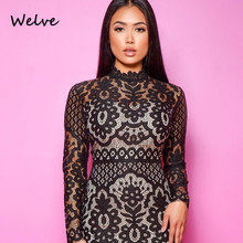 Welve 2019 sexy dress new cross-border rose lace long-sleeved round neck bag hip