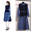Осенняя женская новая юбка набор из двух частей набор Феи французская маленькая юбка маленький аромат платье из двух частей