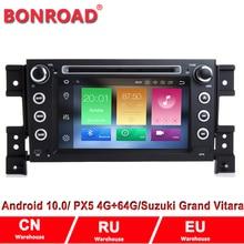 """Bonroad 7 """"2Din Android 10.0 samochodowy odtwarzacz DVD dla suzuki grand vitara 2007 2015 Stereo gps radio samochodowe z nawigacją USB odtwarzacz audio wideo"""