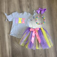 spring short sleeve baby girls Summer boutique clothes bubble skirt bunny Easter girls cotton match accessories