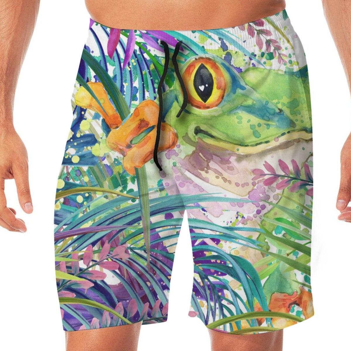 Cute Forest Frog Watercolor Mens Swimsuit Swimwear Men Swimming Shorts Beach Short Sports Suits Surf Board Swim Trunks Beachwear