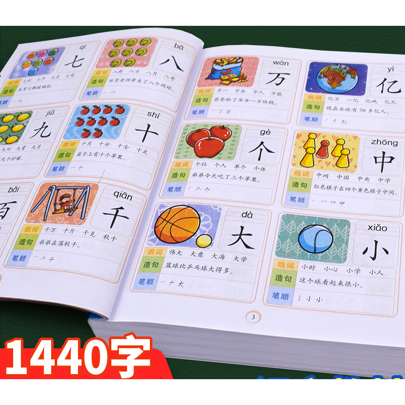 1440 Word Children's Preschool Reading literacy books 3-7 years old baby learn Chinese characters Pinyin literacy king books