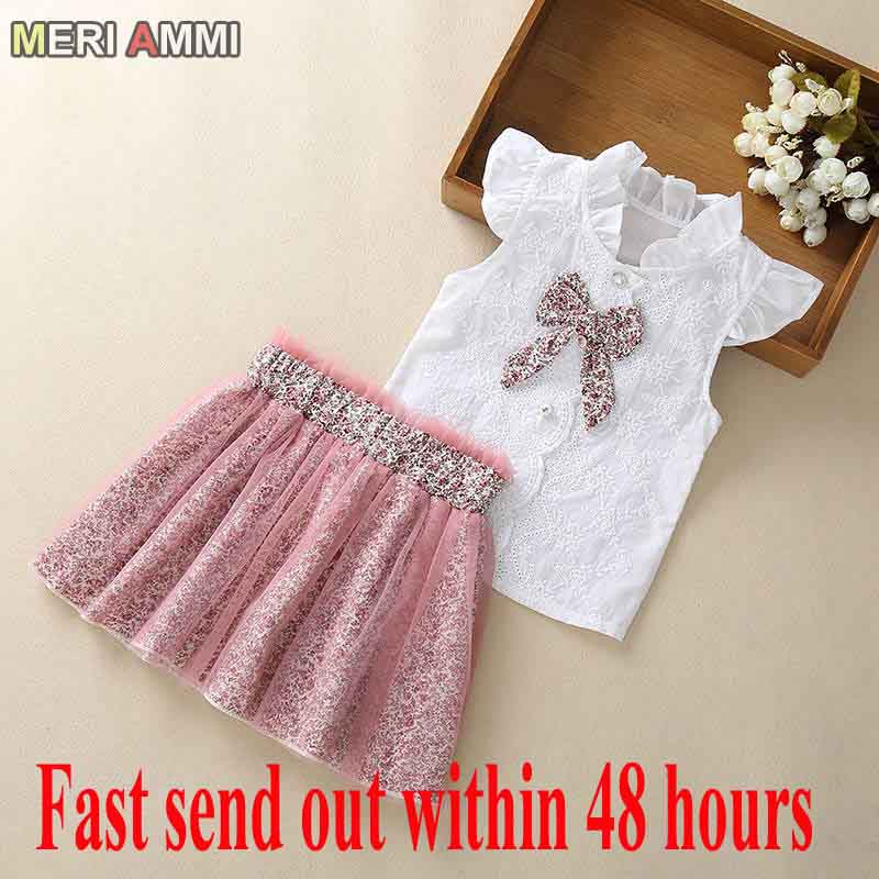 MERI AMMI 2 Pcs Set Children Girl Clothing Outfit Set Sleeveless Floral Tee +Flower Skirts For 2-13 Year Girl
