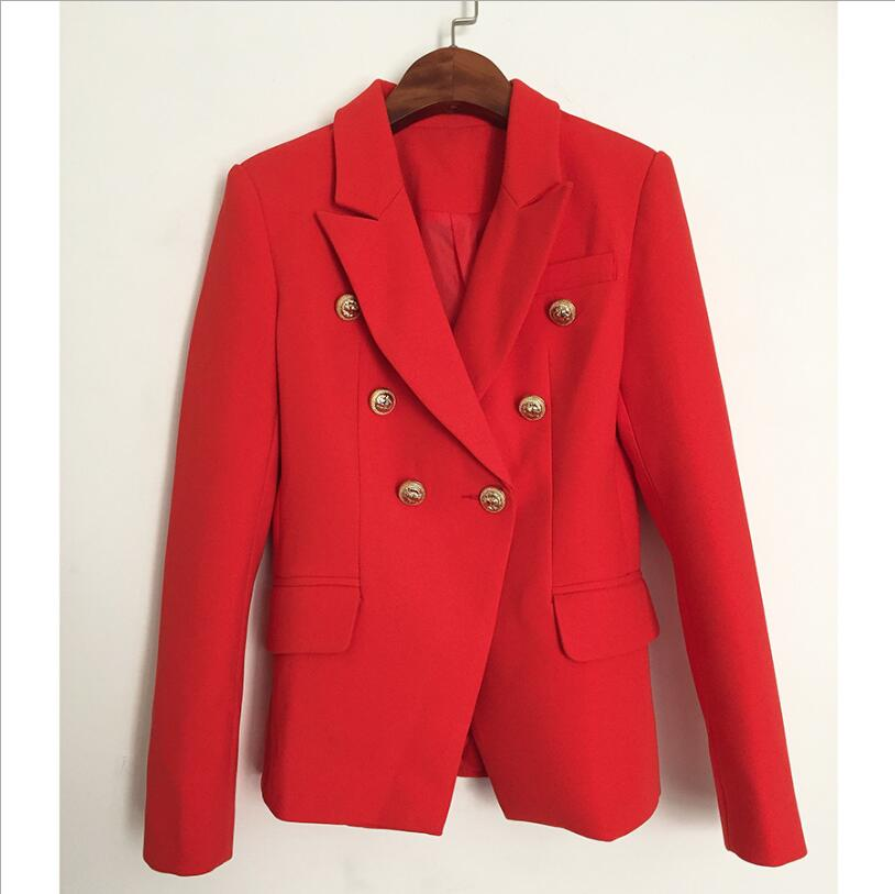 2019 Autumn/Winter New High Quality Office Ladies Blazer Double Breasted Women OL Long Sleeve Suit Red Femme Jacke