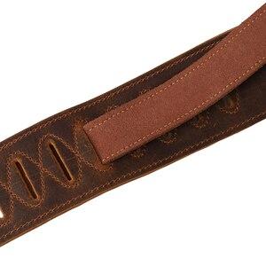 Image 5 - Soldat Top Grain Leder Rindsleder Padded Gitarre Strap für Elektrische Bass Gitarre Verstellbaren Gürtel