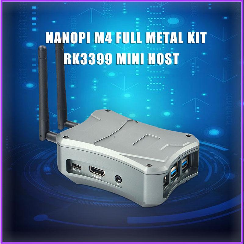 NanoPi M4-2GB/M2V2 CNC De Metal Caso Combo Rockchip FriendlyELEC RK3399 SoC 2,4G Y 5G Dual-banda WiFi + Bluetooth 4,1 Ubuntu And