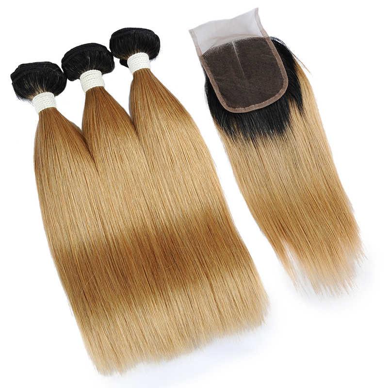 Braziliaanse 1B 27 Honing Blonde Bundels Met Sluiting Human Hair Straight Gekleurde Bundels Met Sluiting Ombre Shining Star Remy Haar
