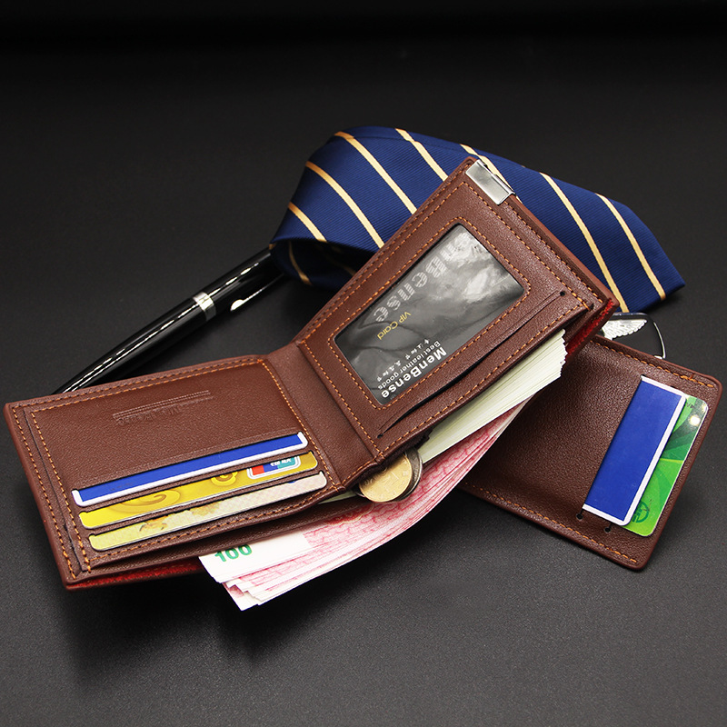 Men Wallet Leather Card Holder Fashion New Card Purse Fashion Multifunction for Credit Cards Male Iron Edge Billetera Hombre 4