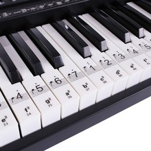 Piano Keyboard Sticker Removable Transparent Easy To Use 61/88 Key Electronic Keyboard Piano Sticker Key Piano Stave Note Sticke