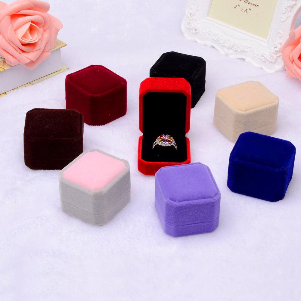 Pcs Squre Velvet Jewelry Earring Ring Display Case Storage Organizer Square Box Case Holder Gift Packaging Box