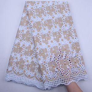 New Arrival White And Gold African Lace Fabric Swiss Voile Lace High Quality Lace Cotton Dry Lace Fabrics For Party Dress S1826(China)
