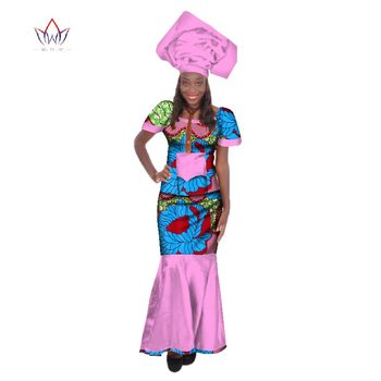 Summer Traditional African Clothing Dashiki O-Neck Women African Skirt Suits Natural Africa Clothes For Women Short Sleeve WY168