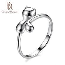 Bague Ringen 100% แท้ 925 แหวนเงินรูปแมวสัตว์แหวนเงินน่ารัก LOVELY Lady เครื่องประดับสำหรับเดท
