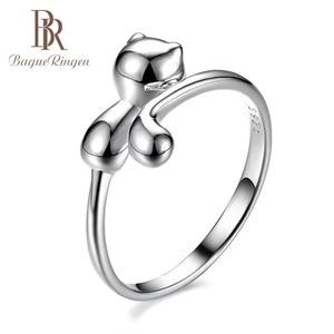 Image 1 - Bague Ringen 100% אמיתי 925 כסף סטרלינג טבעת בעלי החיים חתול צורת כסף טבעת חמוד יפה ליידי תכשיטי להיכרויות