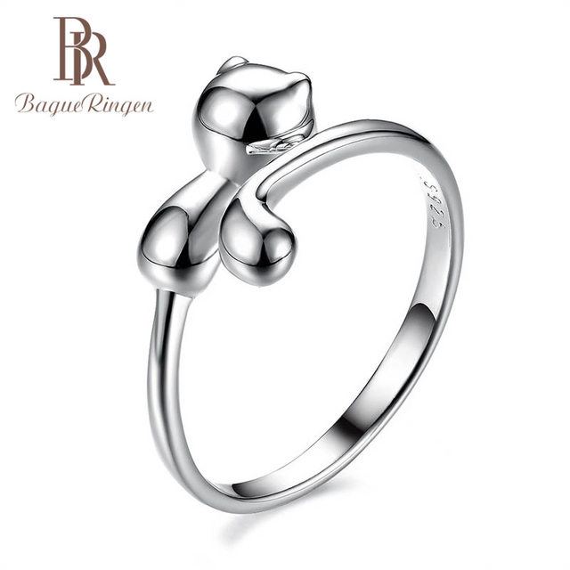 Bague Ringen 100% Real 925 Sterling Silver Ring Animal Cat Shape Silver Ring Cute Lovely Lady Jewelry for Dating