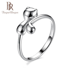 Bague Ringen 100% Reale 925 Sterling Silver Ring Animale di Figura del Gatto Anello In Argento Bello Sveglio Dei Monili Della Signora per la Datazione