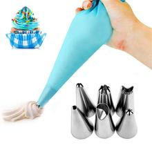 1pcs Silicone Reusable Pastry Bag With 6 Pcs Cake Nozzle Set Bico De Confeitar Stainless Steel DIY Decorating Tools Safe