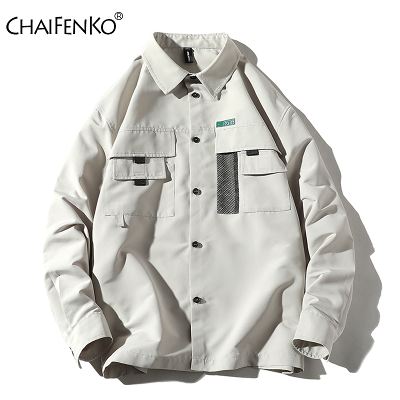 CHAIFENKO Men Casual Tooling Jacket Spring Autumn 2020 New Fashion Vintage Jackets Street Slim Button Windbreaker Jacket Men