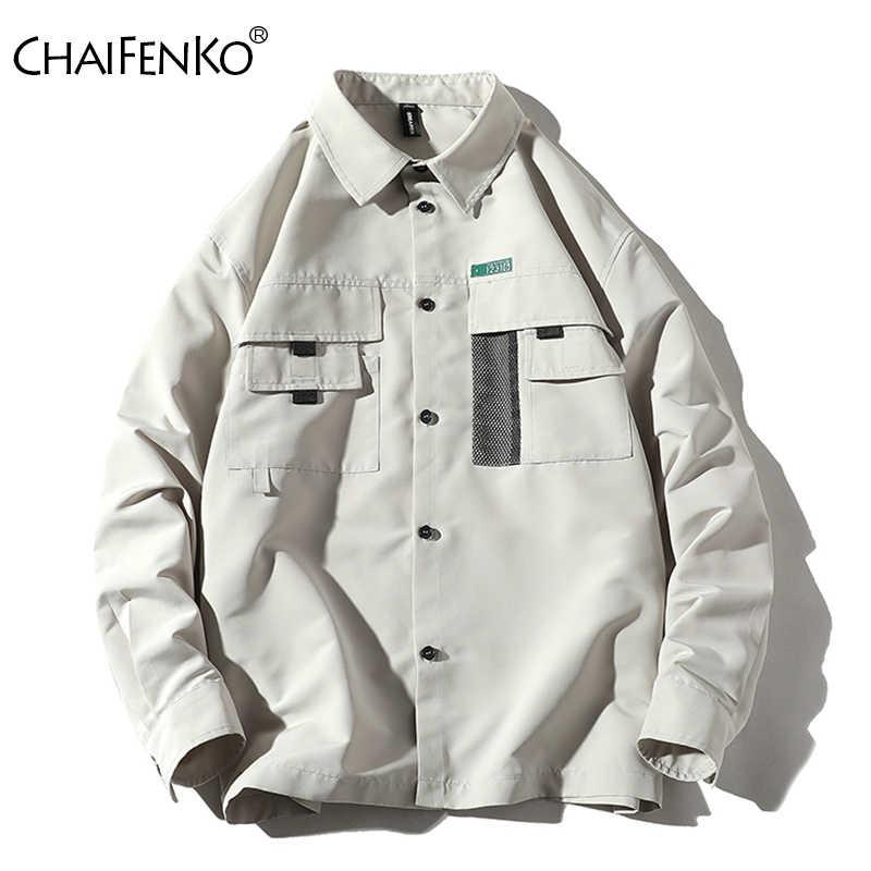 Chaifenko Nam Dụng Cụ Đồ Nghề Áo Khoác Mùa Xuân, Mùa Thu 2020 Mới Thời Trang Vintage Áo Phố Slim Nút Áo Gió Áo Khoác Nam