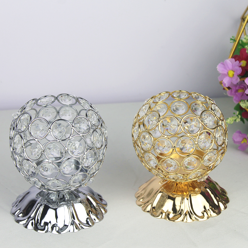 Crystal Candle Holders Silver /Gold Candlestick Candle Lantern Wedding Centerpieces Table Stand For Home Party Decoration(China)