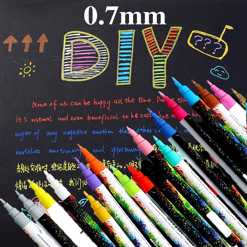 18 Colors/Set 0.7mm Acrylic Paint Marker Pen For Ceramic Rock Glass Porcelain Mug Wood Fabric Canvas Painting Detailed Marking