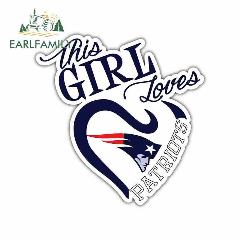 EARLFAMILY 13cm x 12.7cm For New England Patriots Girl Fan Fine Decal Vinyl Car Wrap Funny Car Graffiti Stickers Pull Flower
