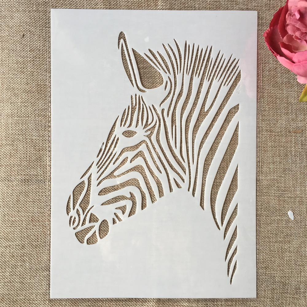 29cm A4 African Zebra DIY Layering Stencils Wall Painting Scrapbook Coloring Embossing Album Decorative Template