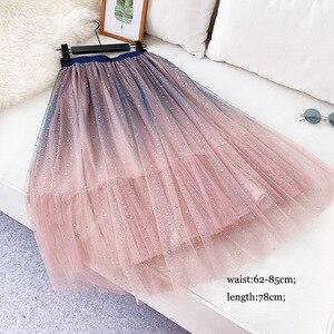Image 5 - OHRYIYIE faldas de tul de cintura alta para mujer, faldas largas de retazos, tutú para el sol, Jupe largo esponjoso, para primavera y verano, 2020