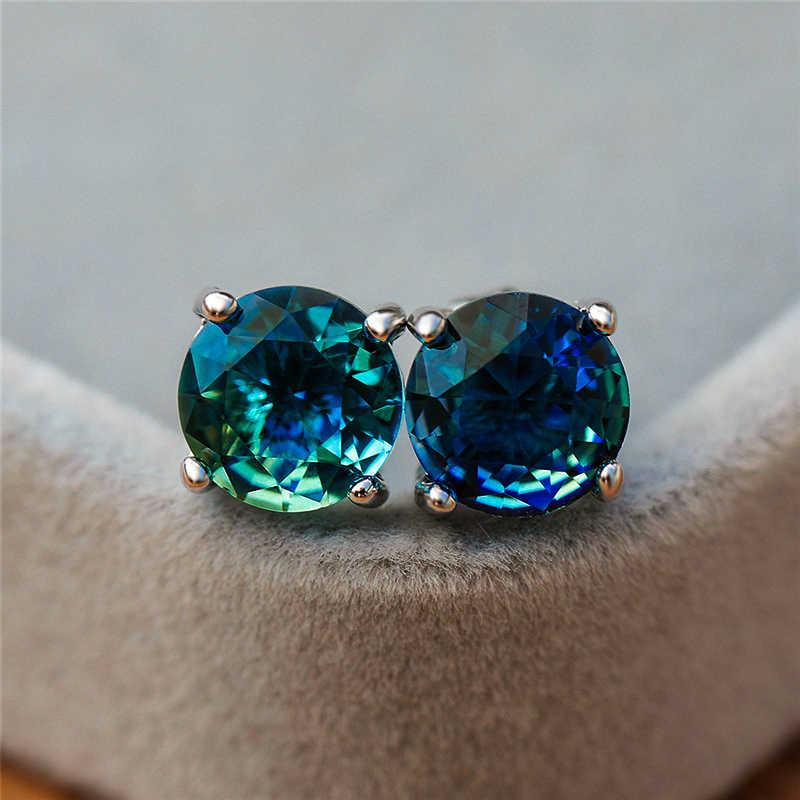 Luxus Weibliche Damen Kristall Runde Stud Ohrringe Elegante 925 Silber Rose Gold Ohrringe Mode Regenbogen Zirkon Hochzeit Ohrringe