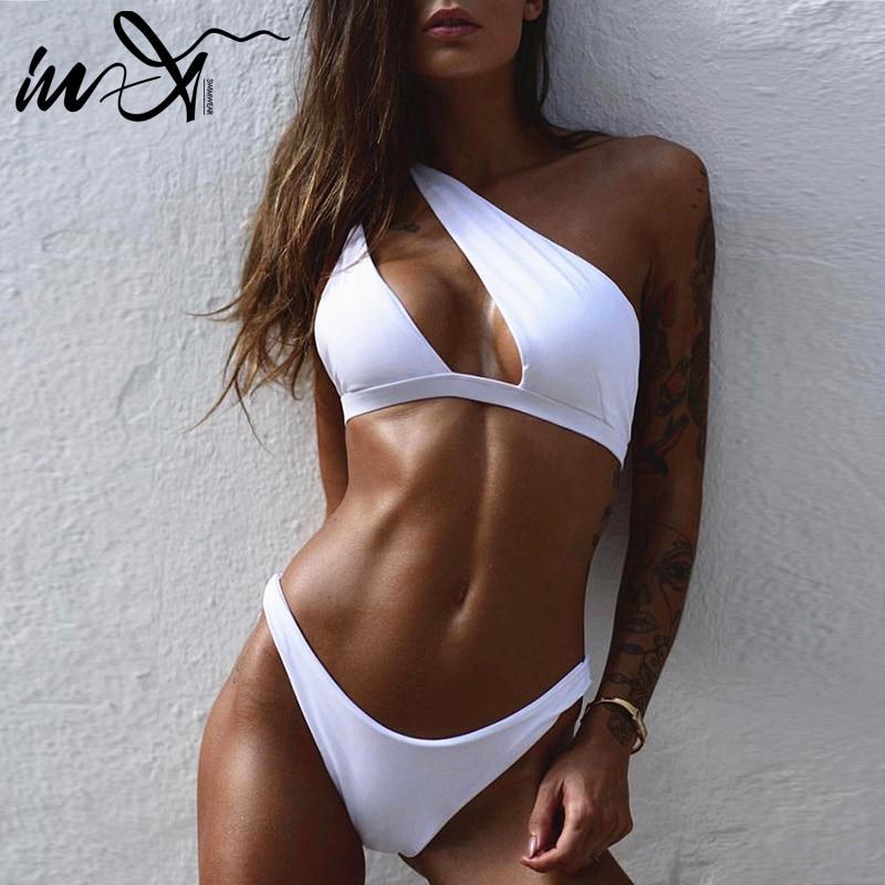 In-X Sexy Leopard Print Swimsuit Female Patchwork Swimwear Women One Shoulder Bikini Set 2020 Brazilian Bikinis Bathing Suit New