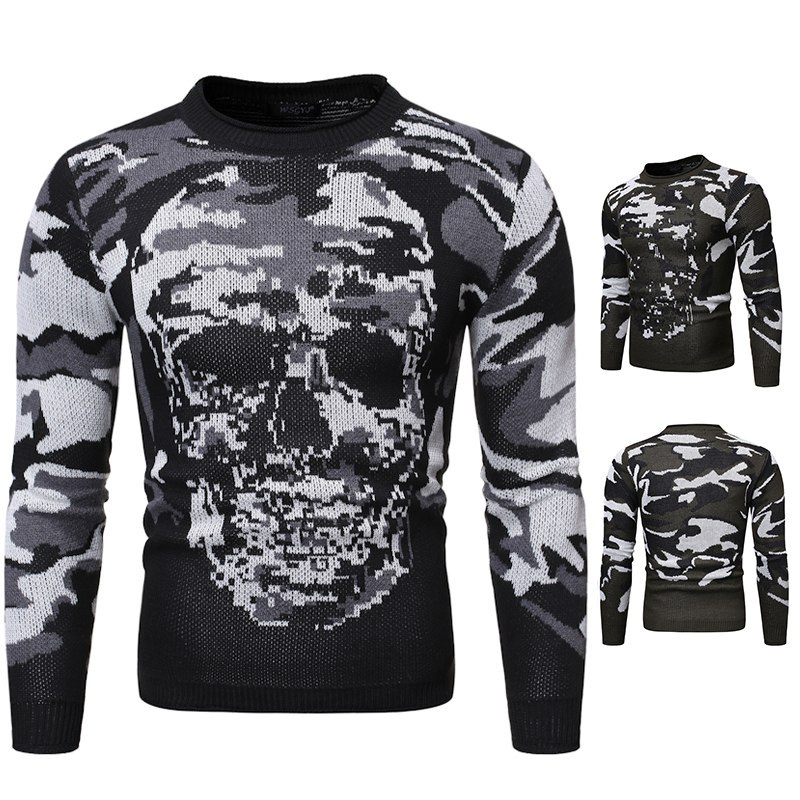 2019 New Autumn Winter Men's Sweater Fashion Skulls Printed Casual Sweater Men's Slim Fit Brand Knitted Pullovers Men's Clothing