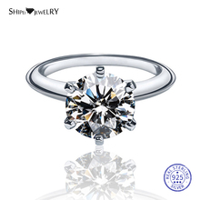 Shipei Genuine 8mm Moissanite Ring for Women 100% 925 Sterling Silver Gemstone Ring shipei 100