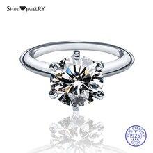 Shipei Genuine 8mm Moissanite Ring for Women 100% 925 Sterling Silver Gemstone