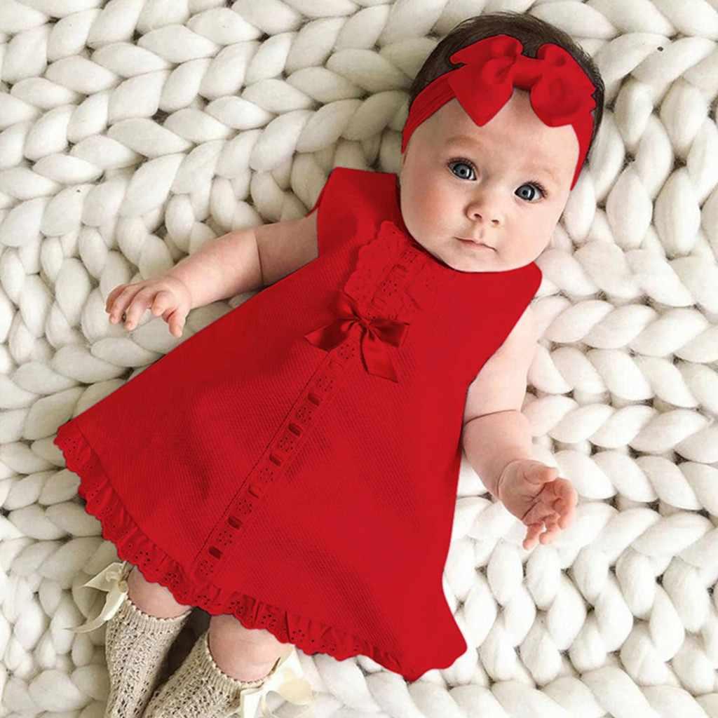 Summer Infant Baby Girls Dress Newborn Baby Girl Sleeveless Dress Red /Pink  Casual Maxi Bow Dress +Headband Set outfit 5-5