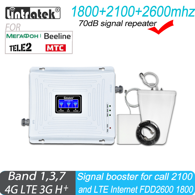 Russian 4G Signal Booster LTE 1800 2600MHz Repeater DCS Band 3 Band7 FDD2600 WCDMA 2100MHz 3G Amplifier For Data And Internet