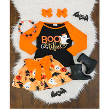 Halloween Cartoon Outfiit Toddler Kids Baby Girls Halloween Cartoon Print Tops +Bow Skirt+Headband Outfiit Elegant Party Clothes(China)