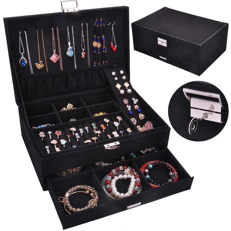 2020 صندوق مجوهرات من المخمل متعدد الطبقات أقراط حقيبة للتخزين 2 طبقات مجوهرات الأزياء المنظم عالية الجودة الفانيلا حقائب حمل الأشياء