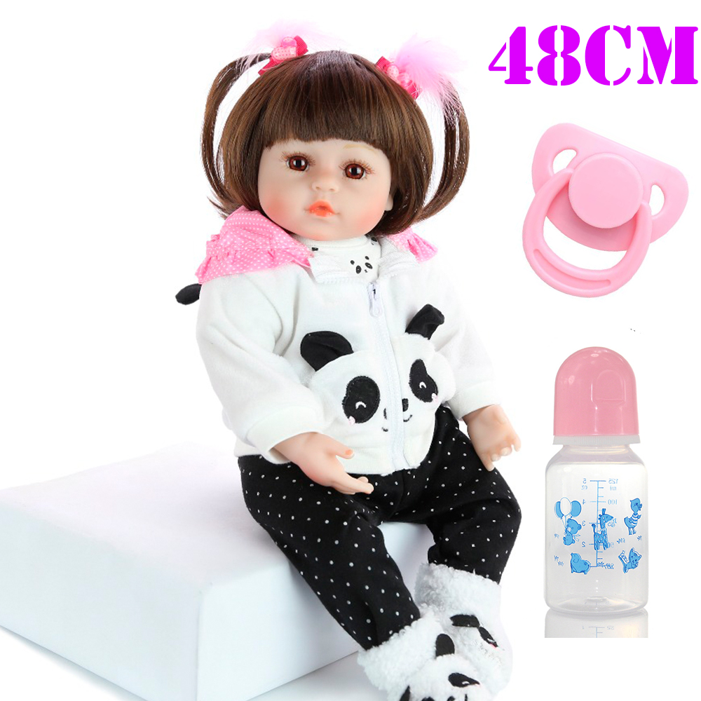 48cm soft Silicone Body Reborn Baby Doll Toy For Girl Vinyl Newborn Princess Babies Bebe alive