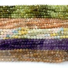 Veemake Iolite Pietersite Apatite Fluorite Tsavorite Moonstone Lapis DIY Necklace Bracelet Rings Round Faceted Beads 3mm A06542