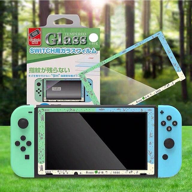Nintend スイッチゲームコンソール画面プロテクター強化ガラスフィルムのためのどうぶつの森 ns スイッチコントローラ保護フィルム