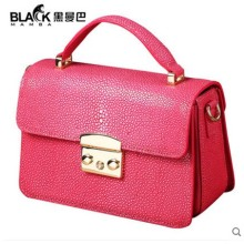heimanba Thailand import  Devil rays pearl fish skin female bag small square hand bill of lading shoulder ladies fashion