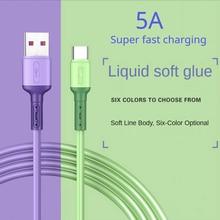 Usb tipo c cabo 5a silicone líquido de carregamento rápido micro cabo usb para samsung xiaomi htc huawei carregador cabo dados do telefone móvel