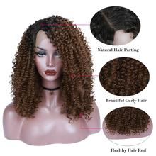 FAVE Lace Front Short Kinky Curly  Side Part Black Brown Ombre Color Synthetic Wig For Black African American Women Cosplay