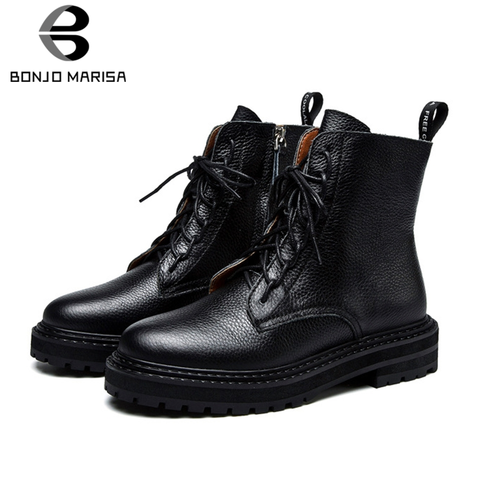 BONJOMARISA New Hot Sale Brand lace-up Platform Booties Lady Genuine Leather Ankle Boots Women 2019 Casual Med Heels Shoes Woman