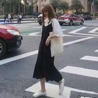 Платье женское, однотонное, простое, Трендовое, шифоновое, в Корейском стиле, а-силуэта, на бретельках