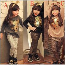 European and American style autumn long-sleeved T-shirt with Leopard head pattern+Leopard trousers two-pieces suit set for girl
