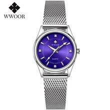 Wwoor Роскошные брендовые элегантные часы браслет женские на