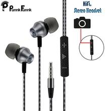 Fones de ouvido com fio de metal om 1.2m, headset estéreo com fio, microfone e controle de volume, para iphone, samsung, huawei lg