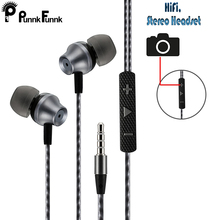 PunnkFunnk 1.2M  Metal Wired Earphones Extra Bass Stereo In ear headset with Mic Volume Control   for iPhone Samsung huawei LG
